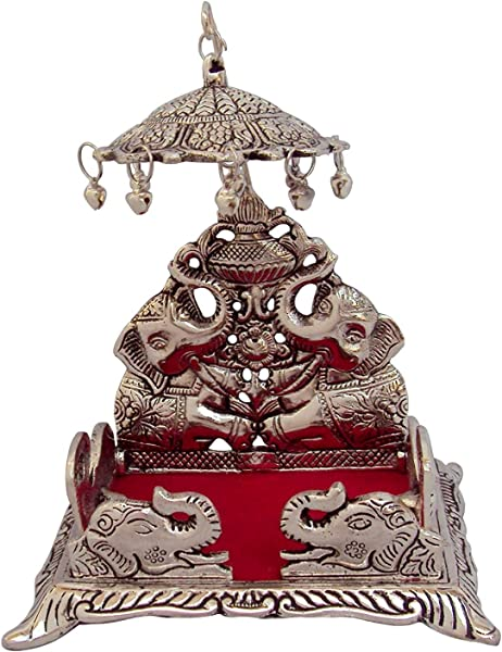 Etsibitsi Antique Showpiece Singhasan With Umbrella Elephant Design Pure Metal By Handcrafted Indian Tradition For God Idols Or Kept In Any Pooja Room Silver