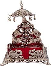 Etsibitsi Antique, 'Showpiece Singhasan with Umbrella' Elephant Design & Pure Metal, by Handcrafted Indian Tradition for God Idols orKept in Any Pooja Room Silver