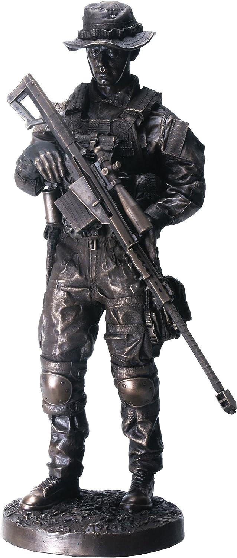 Sniper 13  Bronzed Resin Military Statue  8088 Modern Era Sniper .50 Cal Barrett M82