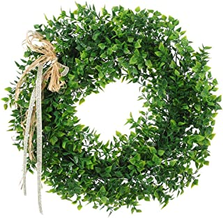 16 Inches Boxwood Wreath Artificial Green Leaf Wreath with Bow Flowers Arrangements Front Door Hanging Wall Window Decoration Holiday Festival Wedding Decor