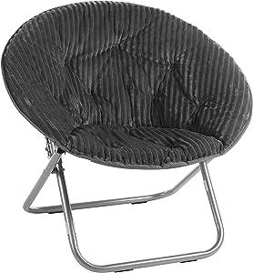 Urban Shop Corduroy Saucer Chair, Grey