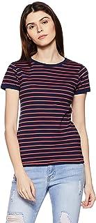 Amazon Brand - Symbol Women's Striped Regular Fit Half Sleeve Cotton T-Shirt