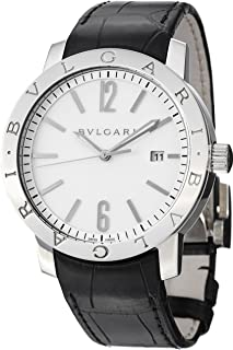 Bvlgari Bvlgari Automatic White Dial Black Leather Mens Watch BB41WSLD