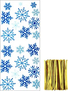 Tantuo 100 Pieces Christmas Cellophane Bags Treat Gift Bags Goodies Candy Bags Snowflake Patterns Cello Bags with 150 Pieces Twist Ties for Party Supplies (Style 3)