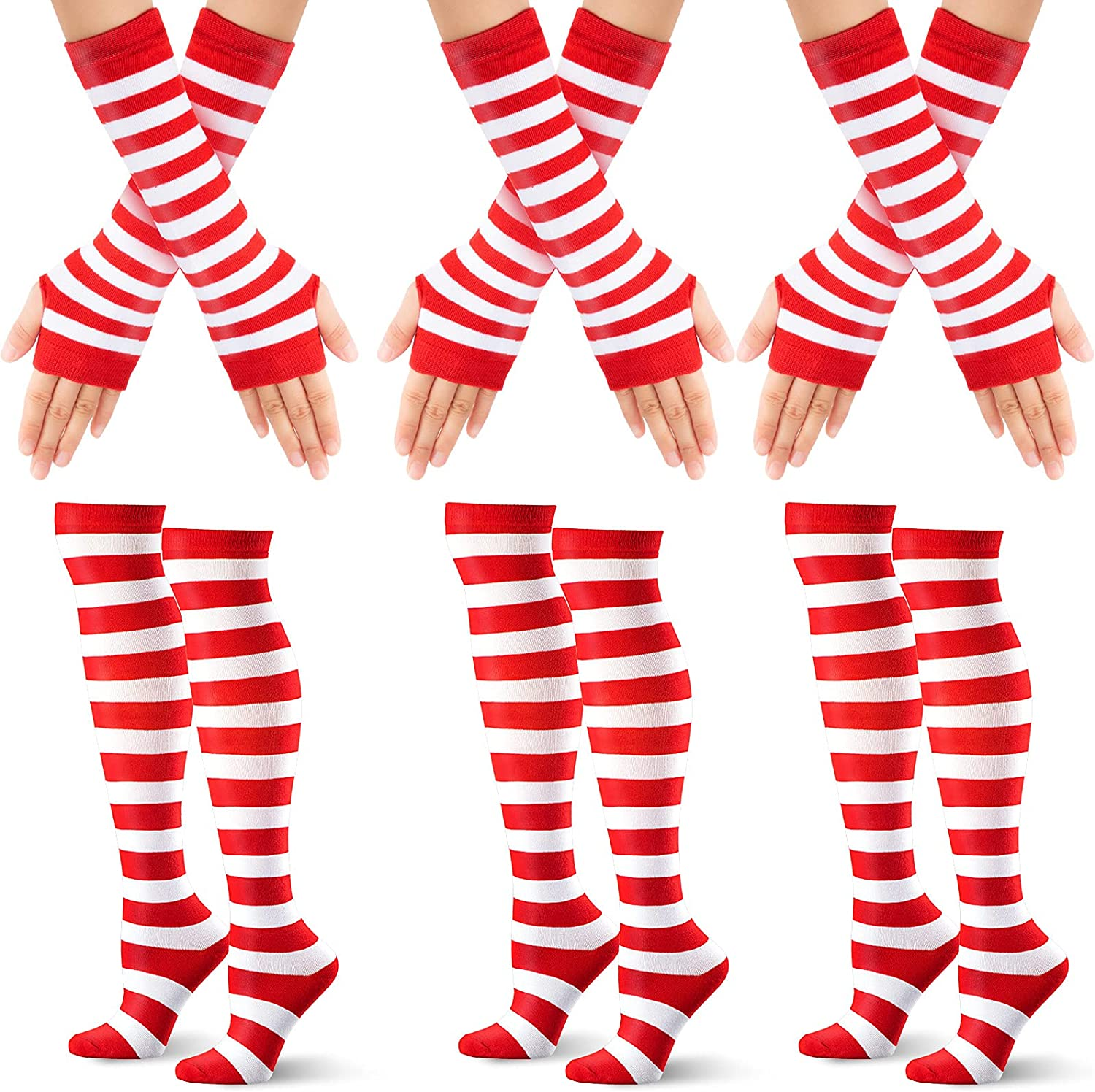 6 Pair Christmas Red White Striped Stocking, Arm Warmer Gloves