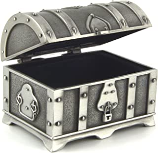 HZMAN Fashion Small Rectangle Antique Silver Metal Treasure Chest Trinket Jewelry Box Gift Box Ring Box