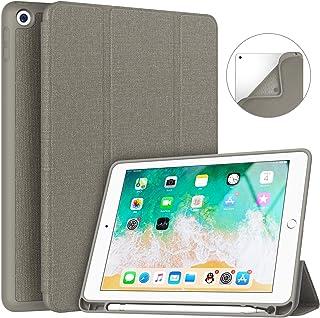 Soke iPad 9.7 第6/5世代 カバー 2018/2017 レザー 三つ折スタンド オートスリープ機能 スマートカバー (ライトグレー)