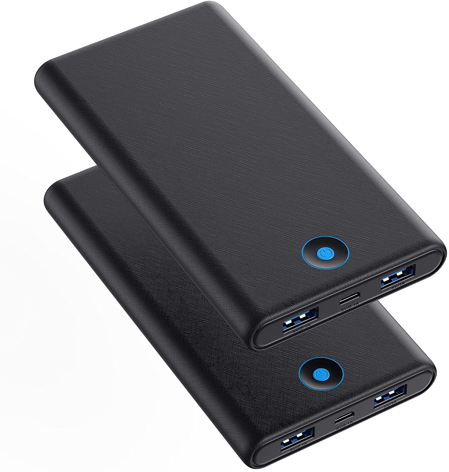 Portable Charger, 2-Pack 20000mAh Power Bank Ultra Slim Fast Charging External Battery Pack with Dual USB Outputs Compatible with iPhone 12 Pro/12/11/XR/X, Samsung S20, iPad Tablet etc.