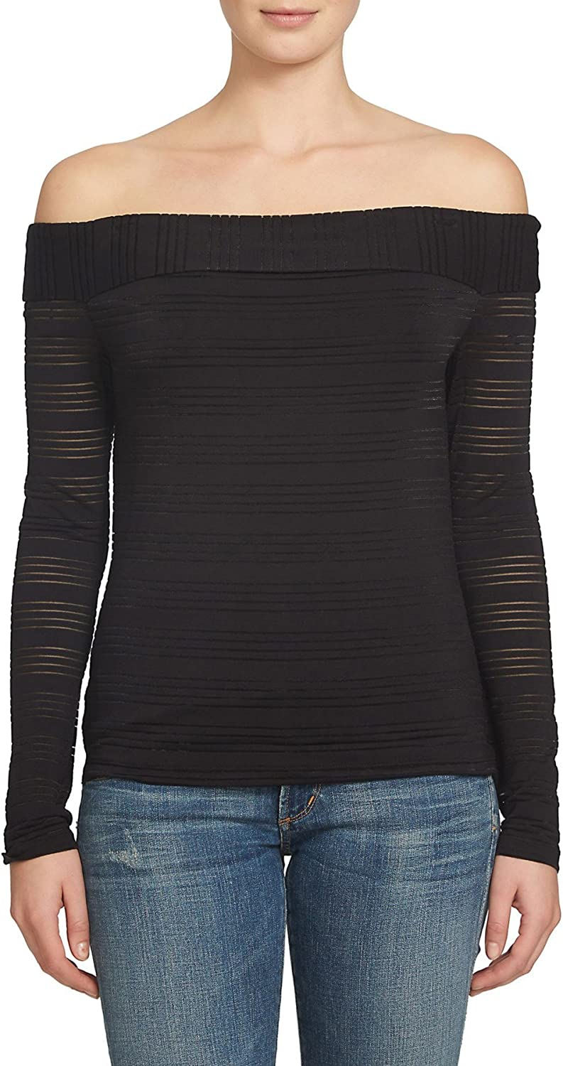 1.STATE OffTheShoulder Shirt for Women in Rich Black Stripe, XSmall