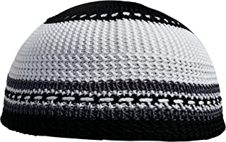 Grey Black & White Nylon KIDS Stretchy Kufi Hat Skull Cap Dotted Lines - One-size for Children 18-21 Inch