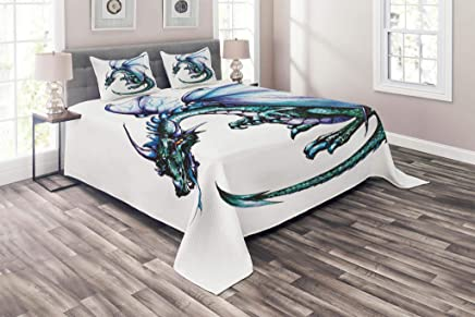 Lunarable Dragon Coverlet Set Queen Size,  Epic Beast Dragon Created with Vibrant Gradient Colored Graphic Ethnic Devil Image,  3 Piece Decorative Quilted Bedspread Set with 2 Pillow Shams,  Teal Purple