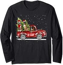 Christmas Three Boxer Dogs Ride Red Truck Xmas Santa Hat Long Sleeve T-Shirt