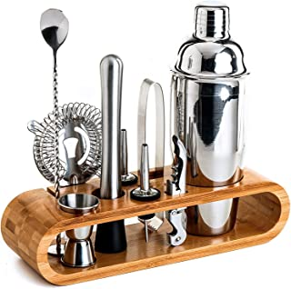 Jorunb Bartender Kit: 10-Piece Bar Tool Set with Stylish Bamboo Stand | Perfect Home Bartending Kit and Martini Cocktail S...