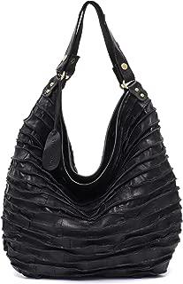 Genuine Leather Women's Shoulder Bag STEPHIECATH Large Casual Soft Lamp Leather Skin Handmade Strip Vintage Tote Bag