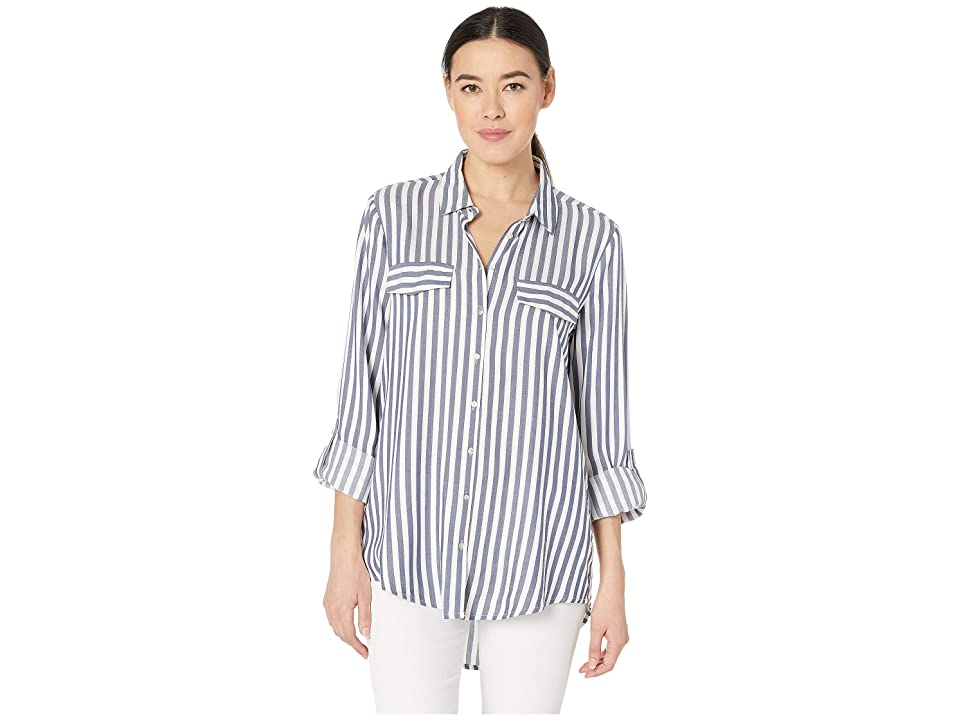 Image of ALEXANDER JORDAN Long Sleeve 2 Faux Flap Pockets Shirt (White/Blue 1) Women's Clothing