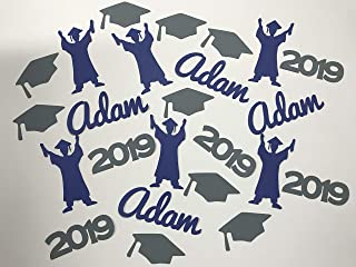 Personalized Graduation Confetti - Graduate, Year, Caps, and Name - Class of 2019 Grad Party