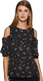 Styleville.in Women's black casual top with fashion sleeve