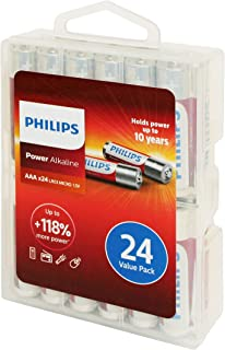 Philips Power Alkaline Battery AAA 24-Value Pack (LR03P24PC/27) BB Date: 01-2028
