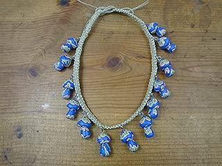 BEACH HEMP JEWELRY Mushroom Choker Necklace Blue Adjustable Handmade In USA