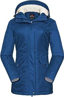 Women's Waterproof Windproof Snow Ski Hooded Jacket Winter Fleece Parka Rain Coats for Hiking