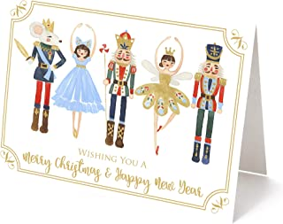 "Nutcracker Christmas Holiday Greeting Cards - Set of 25-5.5x4.25"" Top Fold Cards w/Envelopes"