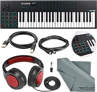 Alesis VI49 25-KeyUSB/MIDI Keyboard & Drum Pad Controller with Samson Over-Ear Headphone, Cables, and Microfiber Cloth