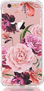 LUOLNH Slim Shockproof Clear Floral Pattern Soft Flexible TPU Back Cover Case Compatible with iPhone 6/6s [4.7 inch]-Purple Rose