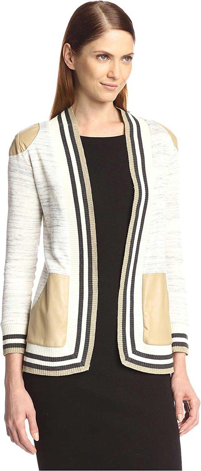 Natalia Romano Women's Adrianne Cardigan with Faux Leather