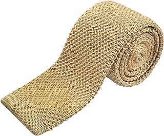 f54fe4c55030a Alizeal Rétro Cravate Mince en Tricot Tricotée Couleur Unie Homme-Champagne