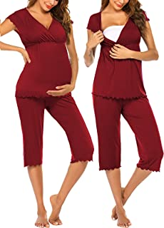 Women Layered Maternity & Nursing Pajama Capri Set Baby...