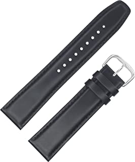 Black oil tanned, genuine leather, Semi Padded Watch Band by DAKOTA