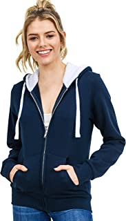 esstive Women's Fur-Hoodie Ultra Soft Fleece Solid Full-Zip Jacket