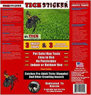 Tick Trapper Tick Sticker Flea, Tick, and Insect Trap - Non-Toxic and Easy to Use - Patent Pending Tick Attractant, Sticky Glue Traps Crawling Insects (Pack of 3)