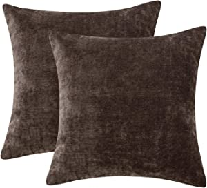 TOPLUXE Pack of 2 Thick Chenille Throw Pillow 18 x 18 Inches Soft Decorative Pillow Cover Solid Square Cushion Case for Couch Sofa Bedroom, Dark Brown, x18