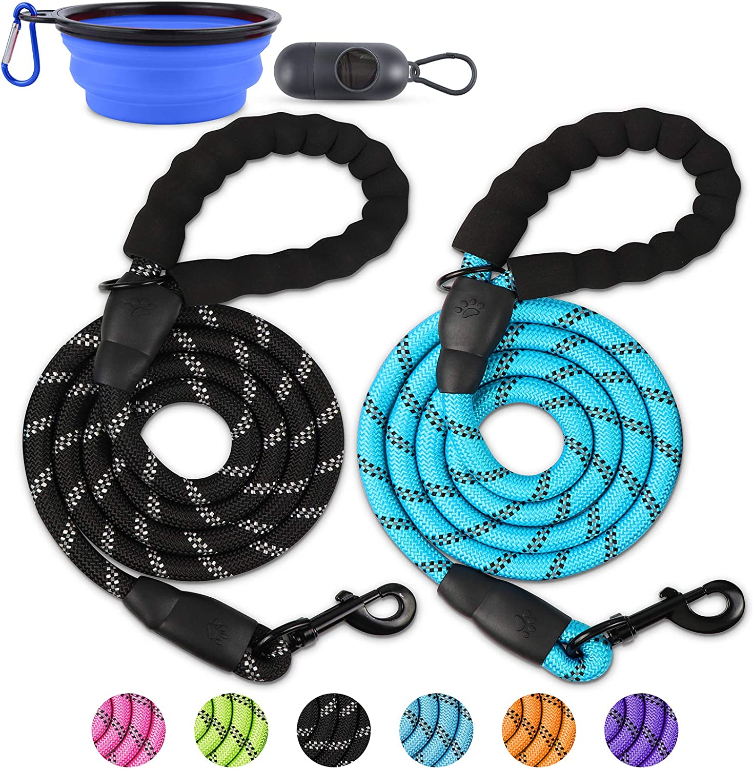 QUXIANG 2 Pack Dog Leash 5 FT Premium P Quality Outstanding Duty Nylon New life Heavy