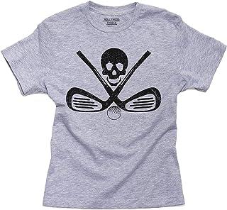 Pirate Skull & Golf Irons + Ball - Rebel Golfing Boy`s Cotton Youth T-Shirt