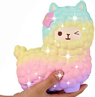 beautyshoppingstore Jumbo Squishies ,Rainbow Jumbo Sheep Alpaca Squishies Slow Rising Squeeze Scented Charms Kawaii Stress Relief Animal Toys for Kids Adults Stress Time Kill Toys