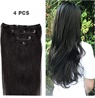 "18"" Clip in Hair Extensions Remy Human Hair for Women - Silky Straight Human Hair Clip in Extensions 60grams 4pieces Natural Black #1B Color"