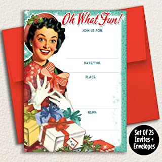 Retro Girl Christmas Party Invitations, 25 Fill in Invites with Envelopes. Christmas Party, Holiday Cocktail Party, Holiday Open House