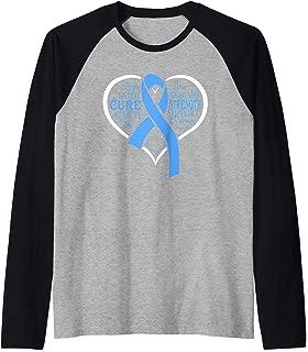 Heart Strength Prostate Cancer Warrior Awareness Ribbon Raglan Baseball Tee