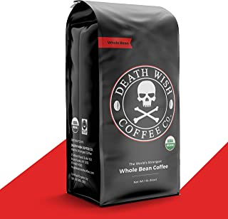 DEATH WISH COFFEE Whole Bean Coffee [16 oz.] The World's Strongest, USDA Certified Organic, Fair Trade, Arabica and Robust...