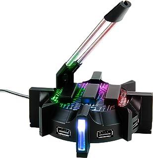 Bungee Gaming LED RGB ENHANCE para ratón. USB hub de 4 Puertos. Mejora tu Experiencia Jugando y Protege el Cable de tu ratón Gamers Profesionales. Sensación de Jugar sin Cable.