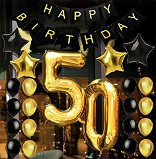50th BIRTHDAY DECORATIONS & PARTY SUPPLIES - Party Favors/Accessories Great For Men and Women's 50th Birthday Party & Anniversary - Includes a 50th Birthday Decor Banner & 22 Gold-Black Balloons Pack