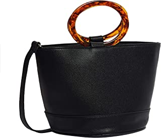 Textured Bucket Bag with Tortoise Top Handle For Women - One Size Black Closet by Styli