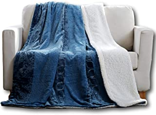 Tache Sherpa Blue Throw Blanket - Rainy Day - Elegant Embossed Solid Super Soft Warm Luxury Decorative Dusty Blue - Twin Size - 50x60 Inch