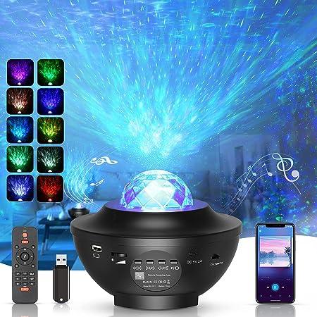 Sternenhimmel Projektor, Rotierender Wasserwellen-Sternprojektor mit Bluetooth-Musikplayer, Geschenke für Damen, Geburtstagsdekorationen, Partys, Spielzimmer, Sportzimmer,Mit Fernbedienung und Timer