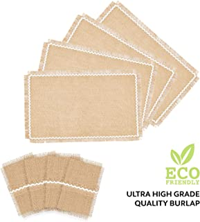 Set of 4 Rustic 100% Natural Jute/Burlap Table Placemats and Matching Cutlery Holders | Lace Design, Fringes | Valentines Day, Spring, Easter, BBQ, President's Day, Farmhouse Kitchen Decor (White)
