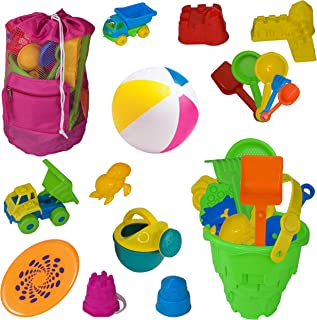 PB's Gifts Beach Toys for Kids, Castle Mold Complete Sand Toy Set Including Large Mesh Beach Bag Tote Durable Sand Away Drawstring Beach Backpack, Beach Ball (Pink)
