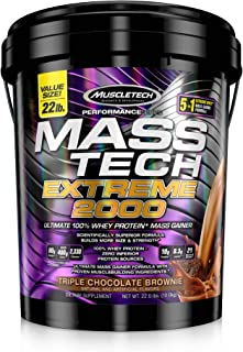 MuscleTech Mass Tech Extreme Mass Gainer Whey Protein Powder, Build Muscle Size & Strength with High-Density Clean Calorie...