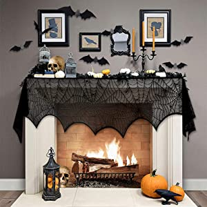 OEAGO Halloween Decorations/Decor Sets - 1 PC Black Lace Spiderweb Fireplace Mantle Scarf 18 x 98 inch &12 PCS Scary Reusable PVC 3D Bats Wall Sticker for Hallowmas Eve Indoor Decor Home Party Window